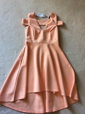428a9eea8347 boohoo night clea bardot strap plunge high low skater dress apricot size 14