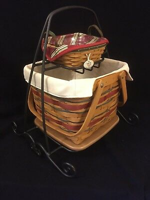 Longaberger Wrought Iron Two-Tier Holiday Buffet Stand With Baskets
