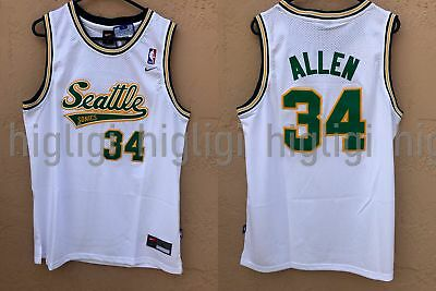 a34f071f6 NWT Ray Allen  34 NBA Seattle Supersonics Swingman Throwback Jersey Man -  White
