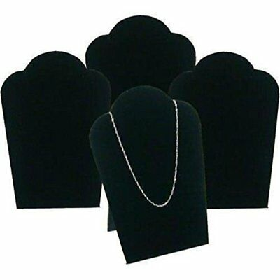 4pk Mini Black Velvet Padded Jewelry Display Bust Easel SET
