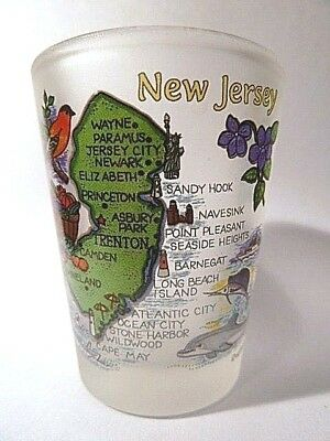 New Jersey Map Frosted Shot Glass Shotglass