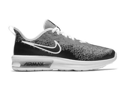 the latest 199b4 3d304 Nike Air Max Sequent 4 Gs AQ2244 001 Garçon Fille Baskets Noir Blanc  Chaussure