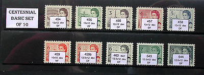 Canada Centennial Basic Set of 10 Stamps * 454 455 456 457 458 459 460 543 544