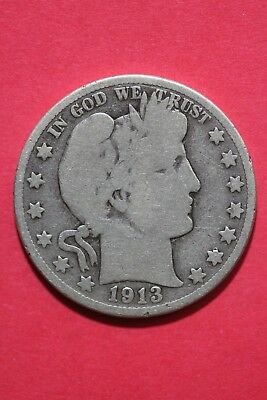 1913 D Barber Liberty Half Dollar Exact Coin Pictured Flat Rate Shipping OCE263