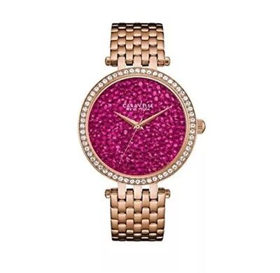 (#A42) Caravelle New York Women's 44L221 Swarovski Crystal  Rose Gold Tone Watch