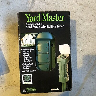 Woods Yard Master Outdoor 6-Outlet Yard Stake with Built-in Timer 13547
