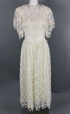 Vintage Jessica Mcclintock Bridal Gown Wedding Dress Ivory Cream Lace Womens 6