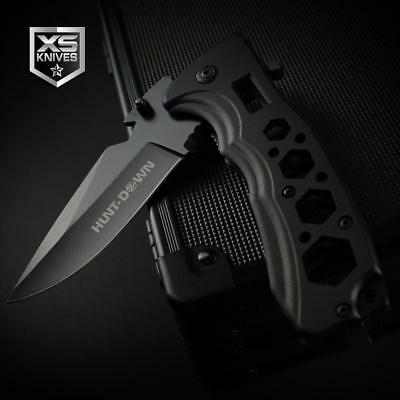 Black EDC Aluminum BOTTLE OPENER Spring Assisted Pocket Knife MULTI TOOL Wrench
