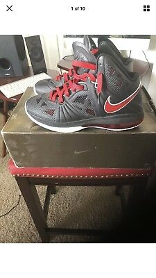 3fafc98f9e95 Mens Nike Lebron 8 Ps Black-Sport Red-White 441946 001 Size 9