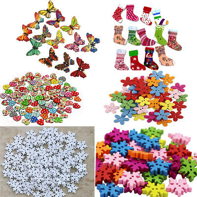 Mixed Christmas Snowflake Flower Sewing Scrapbook Craft Wooden Buttons DIY