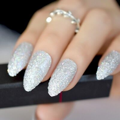 Holo Laser Silver Stiletto Almond Pointed Fake False Nails Shimmer Press on Wear