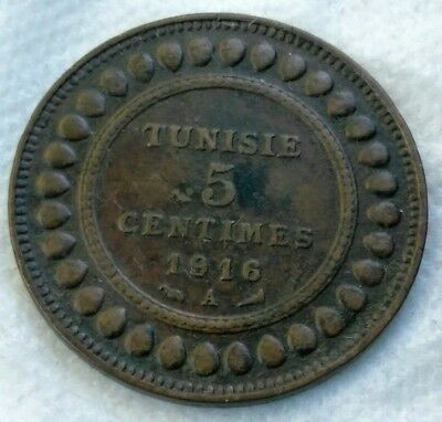1916-A Tunisia 5 Centimes  Very Nice Collectable Condition
