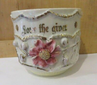 """Antique Victorian Porcelain Cup  Hand Painted Pink Roses/gold  """"love The Giver"""""""