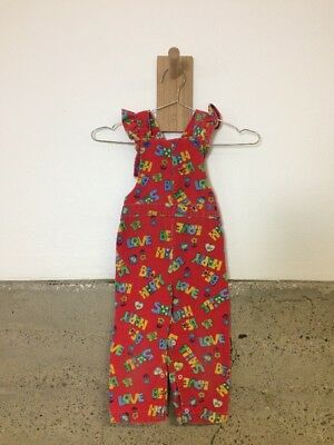 Vintage Health Tex Girls Corduroy Overalls Ruffle Sleeve Red ABCs