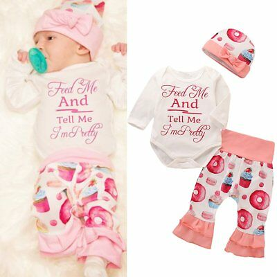 3Pcs Newborn Baby Girl Romper Tops +Long Pants Hat Outfits Clothes 0-24M