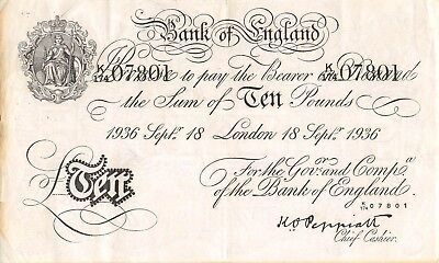 Great Britain 10 Pounds 18.9.1936  P 336ax  Series  K/174 Circulated Banknote