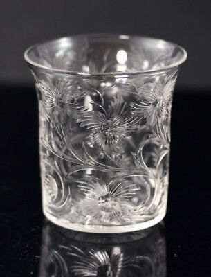 Signed Libbey copper-wheel engraved whiskey tumbler ca 1900 [11729]