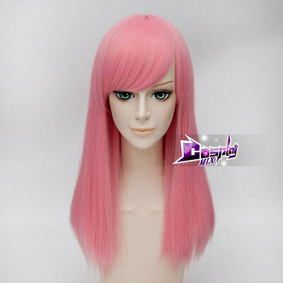 Basic Women LADY 55CM Light Pink Long Straight Cosplay Wig Hair Heat Resistant