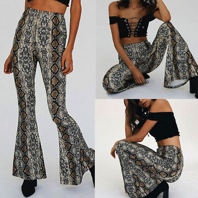 Women's New Fashion Sexy Snake Print High Waist Zippers Long Loose Flare Pants