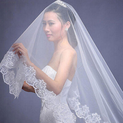 13E2 7ECF Veils White Elegant Fashion Simple Wedding Veil Bride Church Bridal