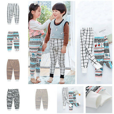 New Girls Boys Cotton Pants Pajama Long Johns Children Trousers For 3-9 Years