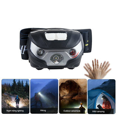 USB Rechargeable 12000LM LED Motion Sensor Headlamp Headlight Torch Flashligh