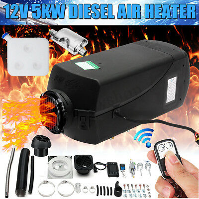 12V 5KW Air Diesel Heater 10L Tank LCD Switch Remote F/ Trucks Car Boat Trailers