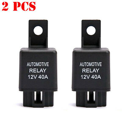 2X DC12V 40A 40 AMP Car Auto Automotive Van Boat Bike 4 Pin SPST Alarm Relay USA