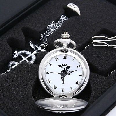 HOT Anime Stainless Steel Pendant Fullmetal Alchemist Pocket Watch with Necklace