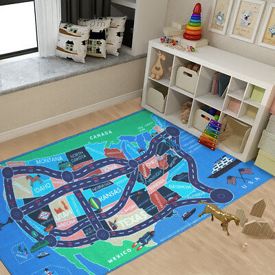 Kids Area Rugs Car Play Crawling Activity Mat Road Floor Game Bedroom Carpets