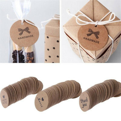 100X Goody Kraft Paper Label Seal Adhesive Handmade Sticker Packaging Tag Decor