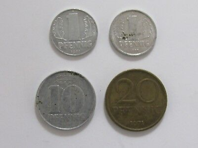 Lot of 4 Different Old East Germany Coins - 1968 to 1978 - Circulated & BU