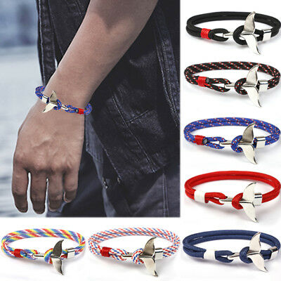1PC Whale Tail Fabric Rope Bracelet Ankle Wrist Wrap Women Men Jewelry Gift