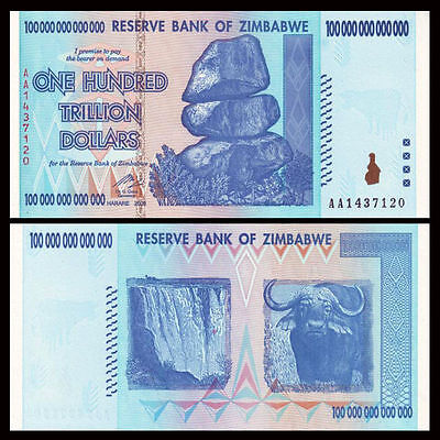 Zimbabwe 100 Trillion Dollars, AA , 2008 Series, P-91, UNC, Banknote Currency