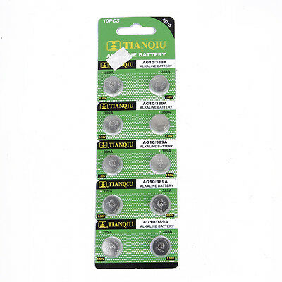 10pcs AG10 389 LR54 SR54 SR1130W 189 L1130 SB-BU Alkaline Button Cell Battery