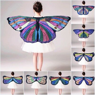 Kids DIY Butterfly Wings Shawl Cape Fairy Nymph Pixie Festival Costume Accessory