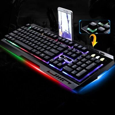 G700 LED Rainbow Color Backlight Gaming Game USB Wired 104 Keys Keyboard US