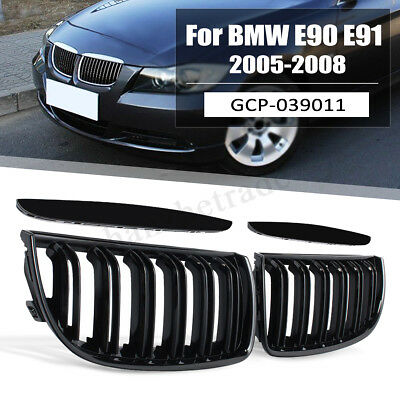 2PCS Black Kidney Grille Grill Gloss Double Slat Sport For BMW E90 E91 2005-08