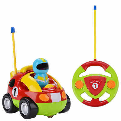 RC Remote Control Race Car Cartoon Police Racing Train Toy Gift Red for Kid