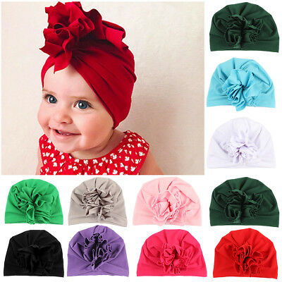 Newborn Toddler Infant Baby Boy Girl Indian Turban Flower Velvet Beanie Hat Cap