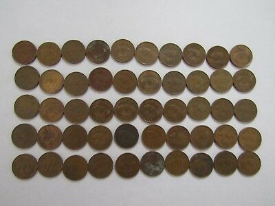 Lot of 50 Bermuda 1 Cent Pig Coins - 1970 to 1996 - Circulated