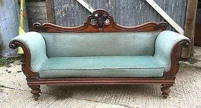 Victorian Mahogany Double End Scroll Arm Chaise Longue