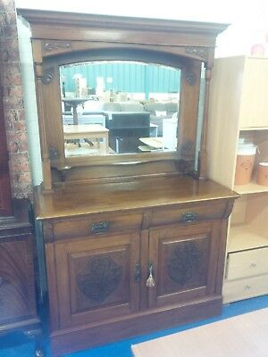 Victorian Carved Walnut Mirror Back Sideboard