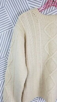 Vtg Cable Knit Medium/Large Cardigan Wool Fisherman Sweater Womans handmade