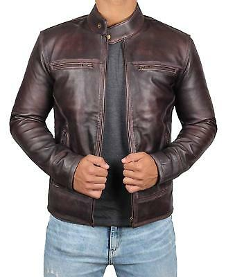 Garcia Mens Vintage Brown Real Leather Four Pockets Lambskin Jacket