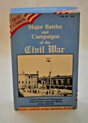 MAJOR BATTLES AND CAMPAIGNS OF THE CIVIL WAR  40 Quiz Cards NIB VINTAGE 1988