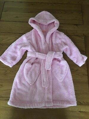 Girls Pink Fluffy Dressing Gown Age 18 Months-2yrs