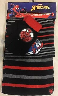 Boys' Spider-Man Hat Scarf Gloves 3 Pc Set Black Red Grey One Size Fits Most NEW