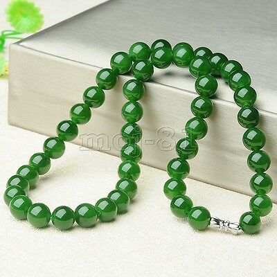 """Women's 10Mm Natural Green Jade Round Gemstone Beads Necklace 18"""" Aaa+"""