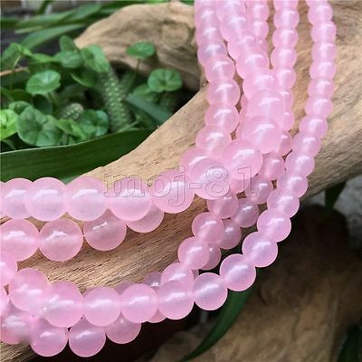 4MM-12MM Natural Smooth Light Pink Jade Round Gemstone Loose Beads 15'' AAA DIY